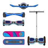 Vector set of self-balanced electric scooters, hoverboard. Segway icons  on white background Royalty Free Stock Image