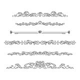 Vector set separator lines with bay leaves and flowers Stock Photos