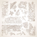 Vector set of sepia hand-drawn Christmas ornaments. Royalty Free Stock Photography