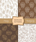 Vector set of sepia seamless Thanksgiving patterns. Royalty Free Stock Image