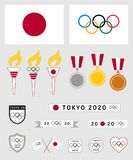 Tokyo 2020 olympics. Vector set of several Tokyo 2020 olympics related icons, symbols and graphics. Eps file available Stock Photography