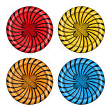 Vector set of sewing buttons red orange, blue and yellow colors with spiral background and sewing thread Royalty Free Stock Photo