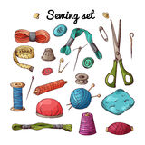 Vector set with sewing equipment. Hand drawn tailor tools. Vector set with sewing equipment. Hand drawn tailor tools Royalty Free Stock Image