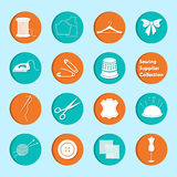 Vector set of sewing equipment icons Stock Photo