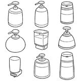 Vector set of shampoo and liquid soap bottle. Hand drawn cartoon, doodle illustration royalty free illustration