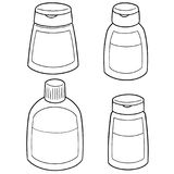 Vector set of shampoo and liquid soap bottle. Hand drawn cartoon, doodle illustration vector illustration