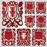 Vector set of shields for capital letters. In the text royalty free illustration