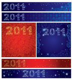 Vector set of shining Christmas backgroun 2011. Vector set of shining Christmas background with sign 2011 stars on the sky (from my Christmas collection Royalty Free Stock Photo