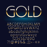 Vector set of shiny gold letters, symbols and numbers. Contains graphic style Stock Photos