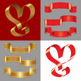 Vector Set of the shiny gold and red ribbons Royalty Free Stock Images