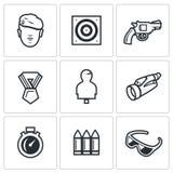 Vector Set of Shooting Range Icons. Warrior, Stationary Target, Gun, Order, Moving Target Binocular Stopwatch Ammunition Glasses vector illustration