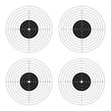 Vector set of shooting targets, blank pistol template. For printing isolated on white background Royalty Free Stock Image