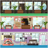 Vector set of shop interior concept flat posters, banners Stock Images