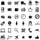 Vector set of 36 shopping icons. Vector set of 36 black shopping icons Stock Images