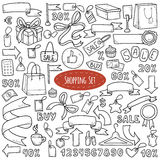 Vector set of shopping items, colorless cartoon collection Royalty Free Stock Images