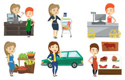 Vector set of shopping people characters. Stock Images