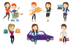 Vector set of shopping people characters. Royalty Free Stock Photos