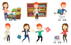 Vector set of shopping people characters. Royalty Free Stock Images