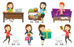 Vector set of shopping people characters. Royalty Free Stock Image
