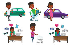 Vector set of shopping people characters. Stock Photo