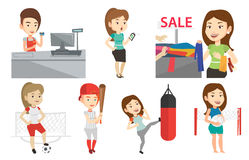 Vector set of shopping people and sportswomen. Stock Photos