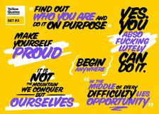 Vector Set of Short Motivational Quotes. Inspiring Cards. Handwr Royalty Free Stock Image