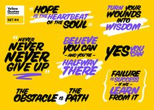 Vector Set of Short Positive Quotes. Motivational Cards. Stock Images