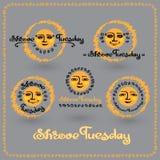 Vector set of Shrove Tuesday or Shrovetide labels.  Stock Images
