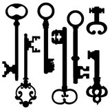 Vector Set of Silhouette Antique Keys Royalty Free Stock Photos