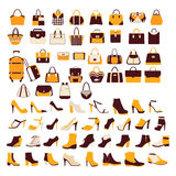 Vector set Silhouette collection of fashion accessories Stock Photography