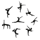 Vector Set of silhouette dancing girl. Set of women dancers dancing modern dance. Royalty Free Stock Photo