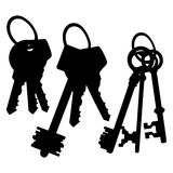 Vector Set of Silhouette Keys Bunches Royalty Free Stock Images