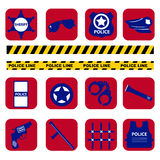Vector set silhouette police symbols in dark blue color Stock Photography