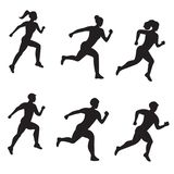 Vector set of silhouette of running men and women on white background stock illustration