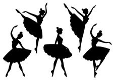 Vector set of silhouettes of ballerinas. On a white background Stock Photo