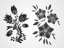 Vector set of silhouettes flowers, branches and leaves. Royalty Free Stock Photos