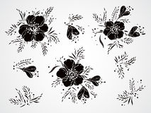 Vector set of silhouettes flowers, branches and leaves. Royalty Free Stock Photography