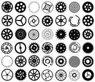 Vector set of silhouettes of gears and other round vector illustration