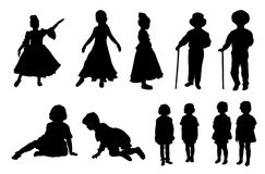 Vector set - silhouettes of kids Royalty Free Stock Images