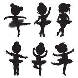 Vector set of silhouettes of little ballerinas. Stock Photography