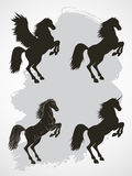 Vector set of silhouettes rearing horse, Pegasus and Unicorn. Stock Photo