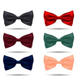 Vector set of silk bow ties on a background Royalty Free Stock Photos