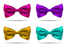 Vector set of silk bow ties on a background. EPS illustration. Royalty Free Stock Photos