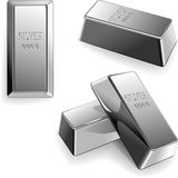 Vector Set of silver bars Stock Image
