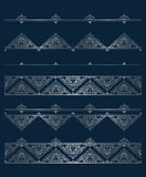 Vector set of silver vignettes and borders for design template. Stock Photos