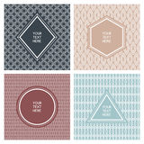 Vector set of simple abstract frame and seamless pattern. Line b Stock Photo