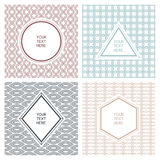 Vector set of simple abstract frame and seamless pattern. Line b Royalty Free Stock Photo