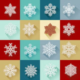 Vector set of simple bright snowflakes Royalty Free Stock Photography