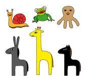 Vector Set of Simple Colorful Cartoon Animals. Snail, frog, octopus, donkey, giraffe and horse Stock Image