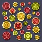 Vector Set of Simple Decorative Flowers Stock Photo